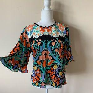 Maeve printed silk keyhole back blouse #4662